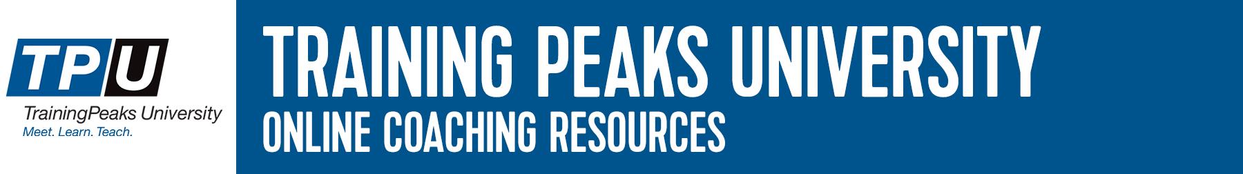 Training Peaks University Resources