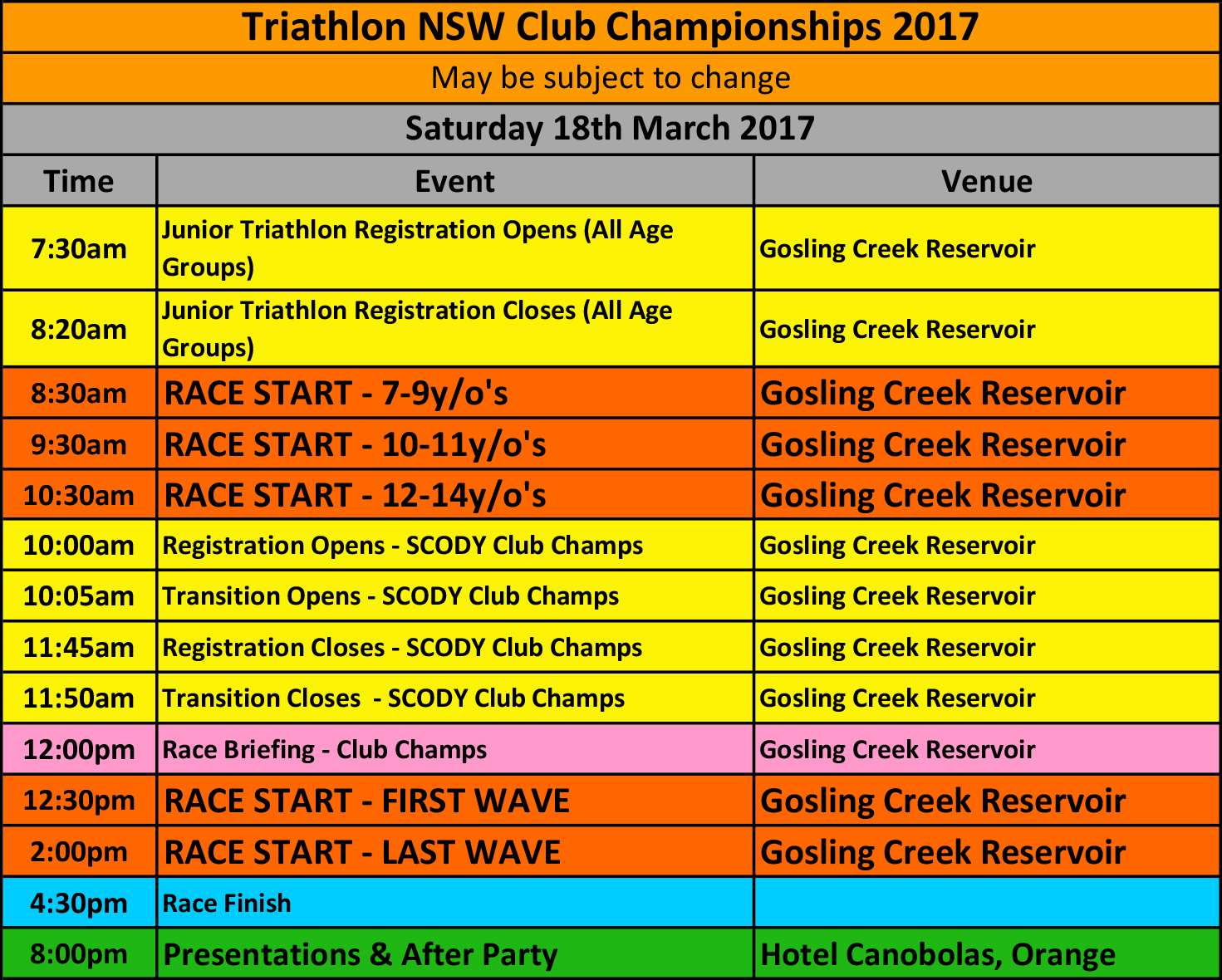 2017 Club Champs Event Schedule - FINAL