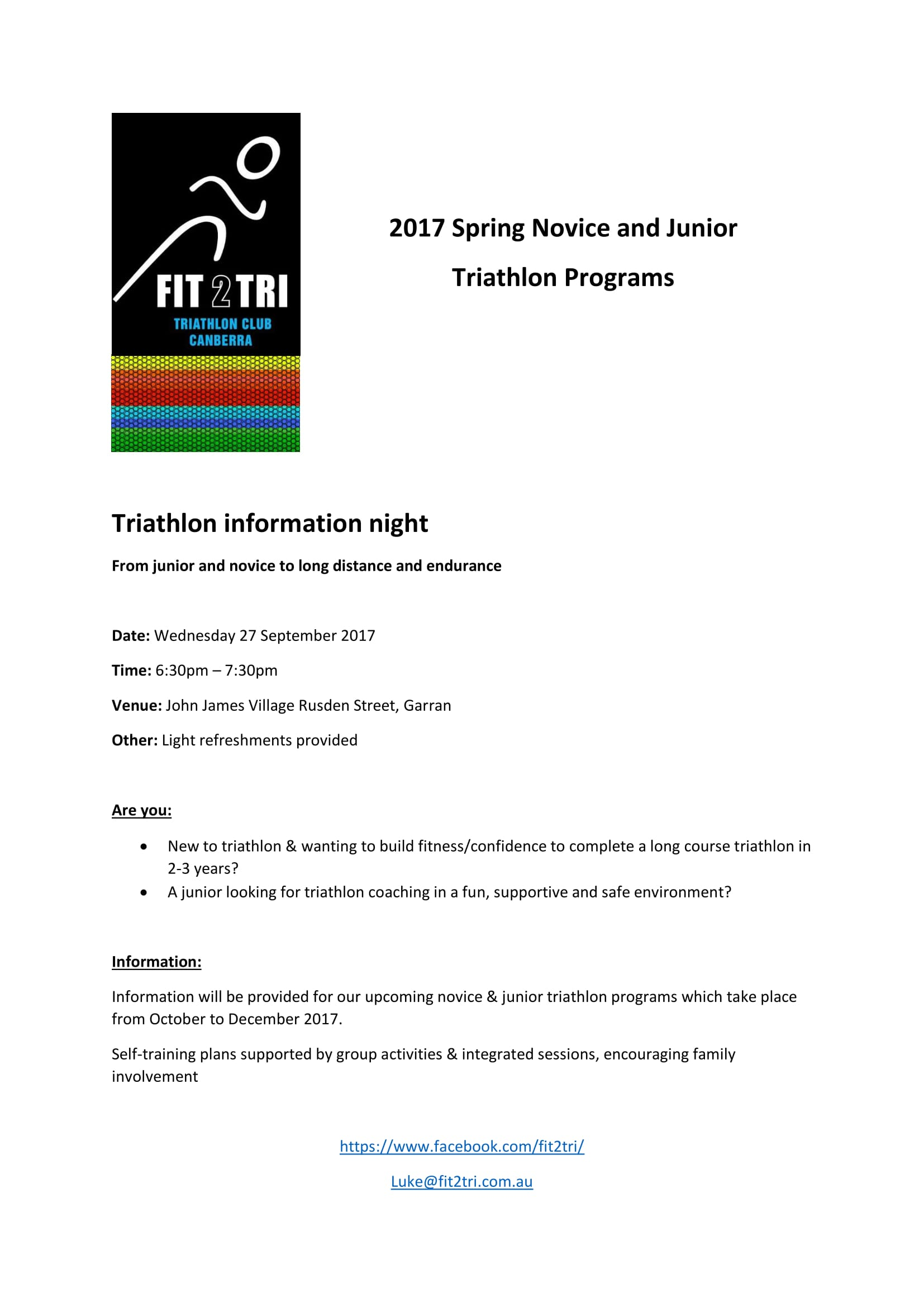 Fit2Tri Novice Program 1