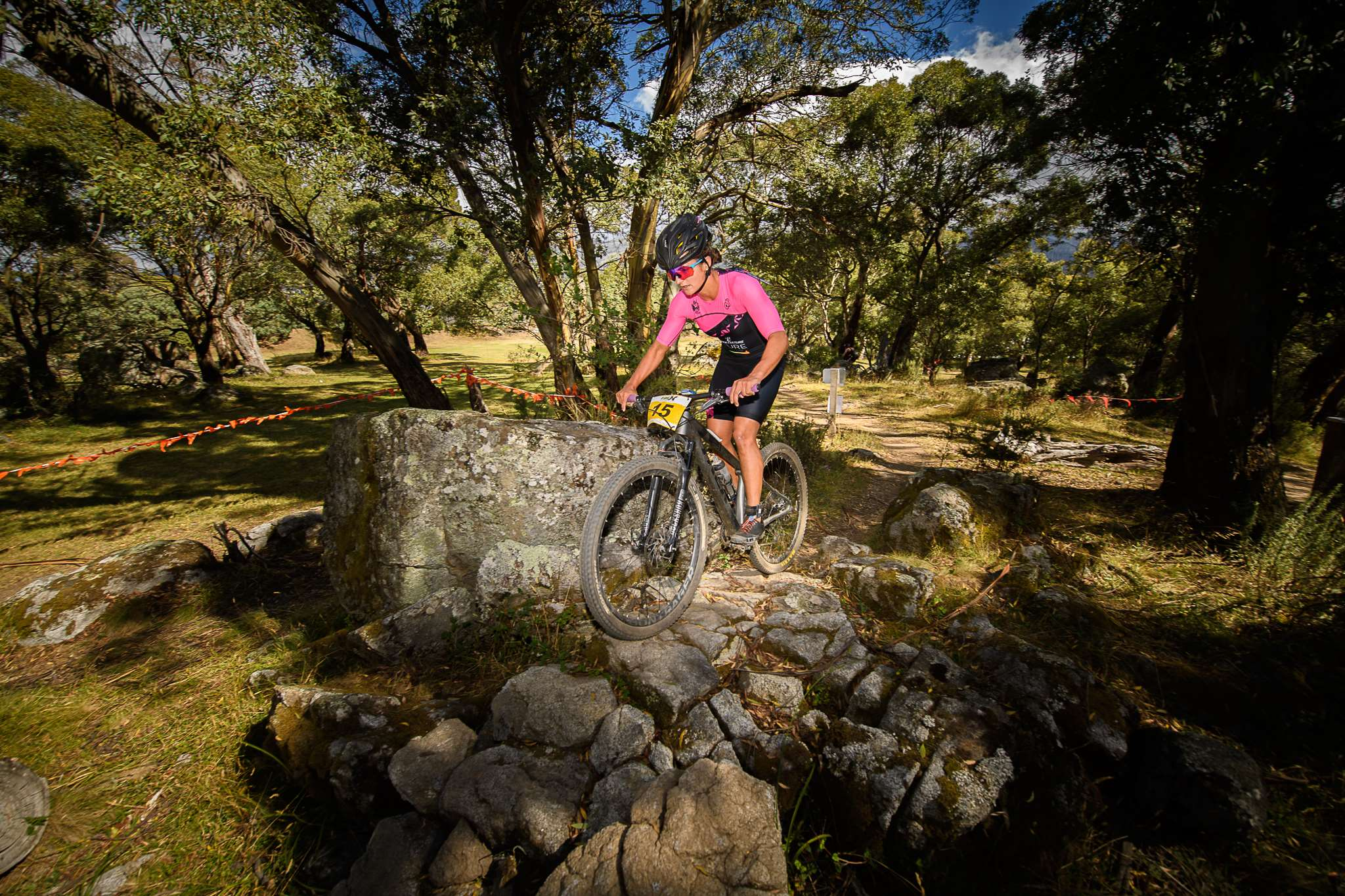Penny Slater on her mountain bike on the 2018 Cross Triathlon